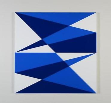"Brian Zink's ""Composition in 2051 Blue, 2114 Blue, and 3015 White"" (2014) at Miller Yezerski."